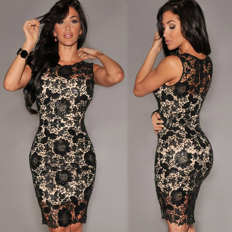 Sexy-Women-Lace-Black-Dress-Crochet-Zip-Back-O-Neck-Sleeveless-Tropical-Nightclub-Slim-Dress-Top